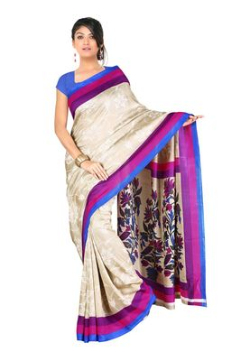 Fabdeal Cream Colored Art Silk Saree With Unstiched Blouse