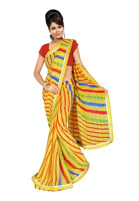 Fabdeal Yellow Colored Marble Chiffon Saree With Unstiched Blouse