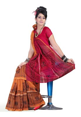 Fabdeal Mustered & Red Colored Linen Silk Saree With Unstiched Blouse
