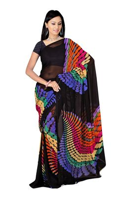 Fabdeal Black & Purple Colored Faux Georgette Saree With Unstiched Blouse