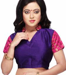 Buy purple and pink raw silk and chanderi semi stitched blouse blouse online
