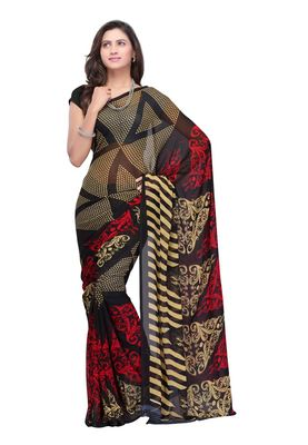 Fabdeal Black Colored Faux Georgette Saree With Unstiched Blouse