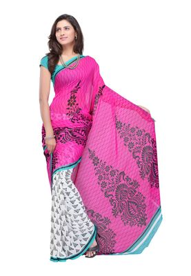 Fabdeal Pink & White Colored Faux Georgette Saree With Unstiched Blouse