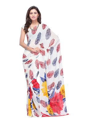 Fabdeal White Colored Faux Georgette Saree With Unstiched Blouse