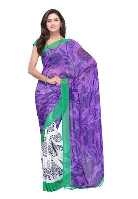 fdb3d2cb1d946 Buy Fabdeal White   Purple Colored Faux Georgette Saree With Unstiched  Blouse Online
