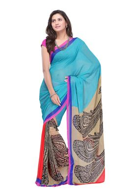 Fabdeal Blue & Grey Colored Faux Georgette Saree With Unstiched Blouse
