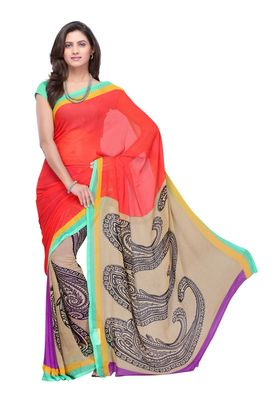 Fabdeal Red & Grey Colored Faux Georgette Saree With Unstiched Blouse