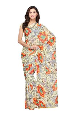 Fabdeal Yellow & Orange Colored Faux Georgette Saree With Unstiched Blouse