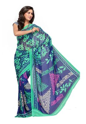 Fabdeal Blue & Sea Green Colored Faux Georgette Saree With Unstiched Blouse