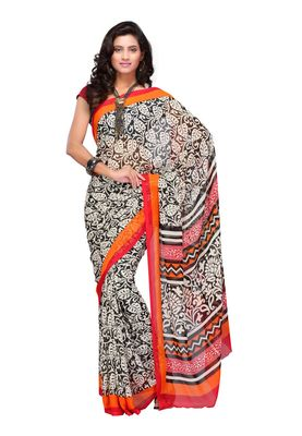 Fabdeal Black & Orange Colored Apple Georgette Saree With Unstiched Blouse