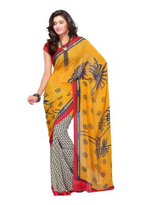 Fabdeal Off White & Yellow Colored Apple Georgette Saree With Unstiched Blouse