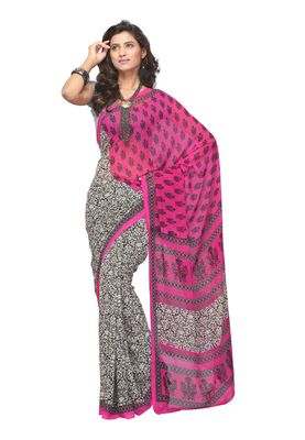 Fabdeal Pink & Off White Colored Apple Georgette Saree With Unstiched Blouse