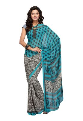 Fabdeal Teal & Off White Colored Apple Georgette Saree With Unstiched Blouse