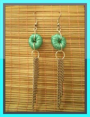 Sea-Green Chain Earrings-Aliff Lailaa-01011
