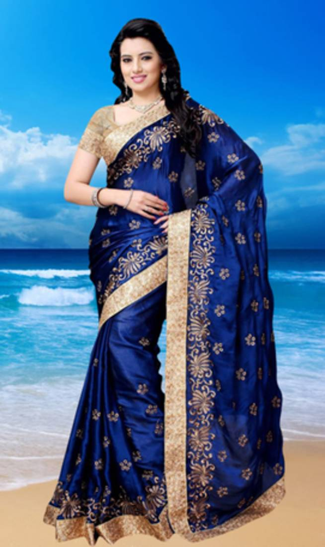 Buy Navy Blue Embroidered Satin Saree With Blouse Online