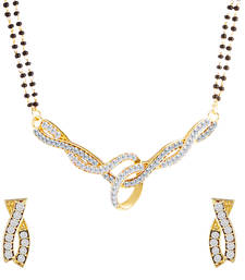 Buy Oviya Gold Plated Ambrosial Mangalsutra Tanmaniya Set with White Crystals for Women mangalsutra online