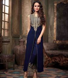 Buy Blue Gerogette embroidered semi_stitched salwar with dupatta anarkali-salwar-kameez online