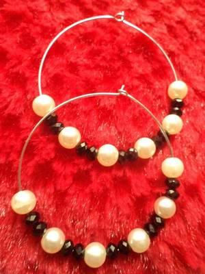 Blk & Wht Hoop Earrings-Aliff Lailaa-04071