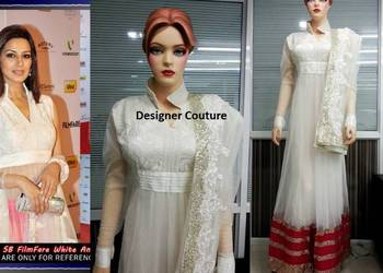 White Anarkali Semi stitched