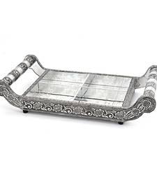 Buy Pure White Metal Dryfruit Tray Handicraft Gift home-decor online