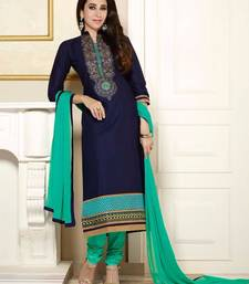 Buy Blue embroidered cotton semi stitched salwar with dupatta straight-suit online