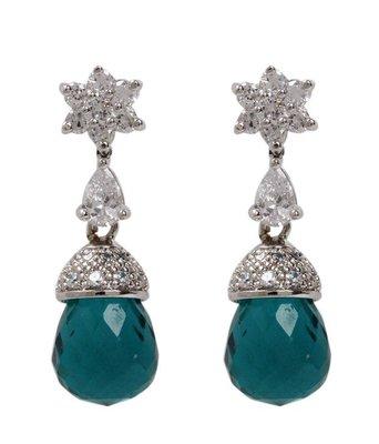 Aradhyaa Sea Green Bead Drop Floral Earrings