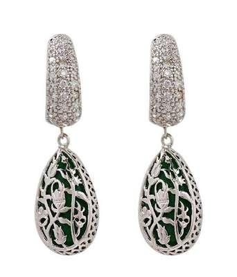 Aradhyaa Green Teardrop CZ Earrings