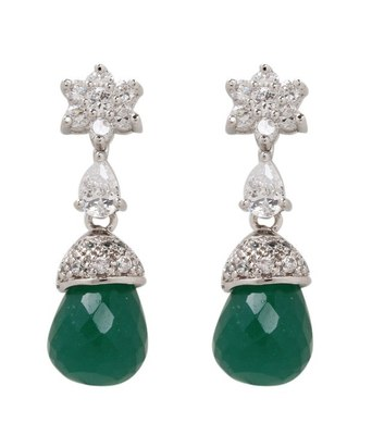 Aradhyaa Dark Green Bead Drop Floral Earrings