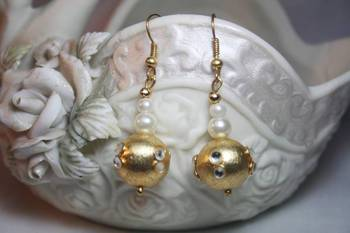 Gorgeous Golden ball earrings with Kundan work & Pearls