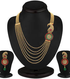 Buy Emerald Ruby Six String Gold Plated Blossomy Necklace Set black-friday-deal-sale online