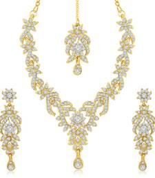 Trendy Gold Plated Australian Diamond Stone Studded Necklace Set