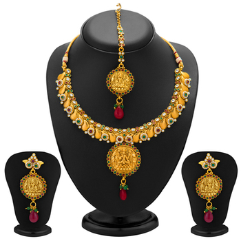 Divine Gold Plated Temple Jewellery Necklace Set for Women