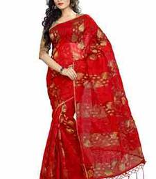 Buy Red plain chiffon saree with blouse tissue-saree online