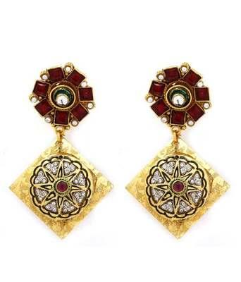 Aradhyaa Rhombus Gold Plated Earrings