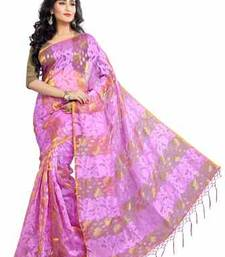 Buy Pink plain chiffon saree with blouse tissue-saree online
