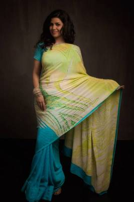 Firozi Blue & Lime Green Satya Paul Saree