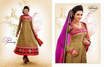 LIGHT BEIGE & BROWN FAUX GEORGETTE ANARKALI SUIT