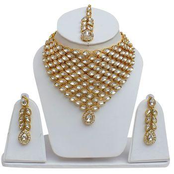 Designer Kundan Necklace Set With Earrings