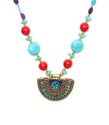Buy Turq Red semi circle tibetean necklace Necklace online