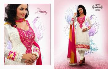 OFF WHITE & PINK FAUX GEORGETTE ANARAKALI SUIT