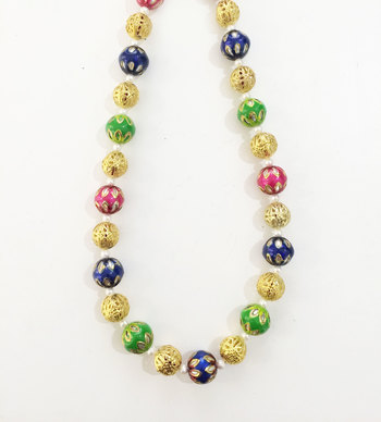 Multicoloured meenakari stones necklace