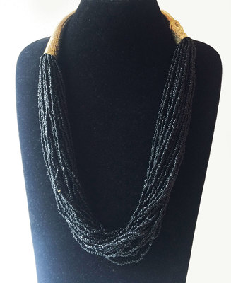 Gold Tubes Black Beaded Necklace