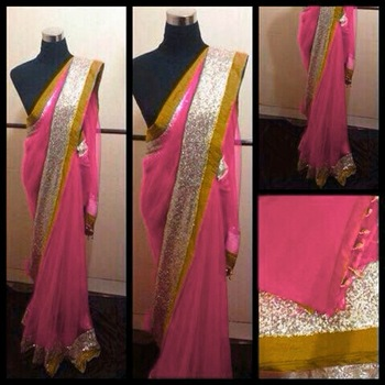 Pink and msutard saree