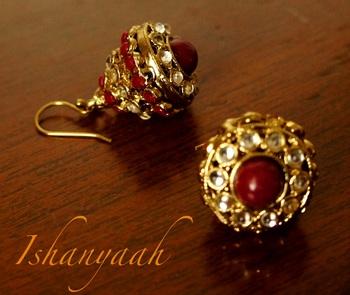 Antique Red Closed Kundan Jhumki-Big