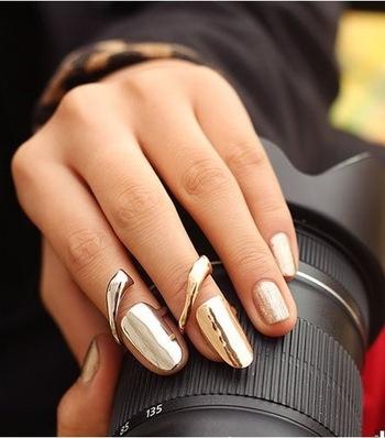Nail art ring fashion lovely golden punk design ring