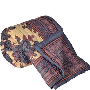 Blue FloralPrint Jaipuri Coton Double BedQuilt
