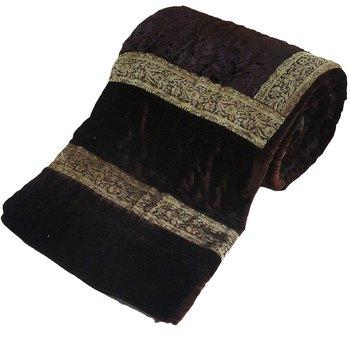 Jaipuri Dark Brown Double Bed Velvet