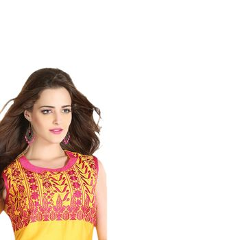 Hypnotex Chanderi Yellow Color Designer Kurti Foursquare4002