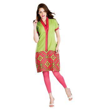 Hypnotex Cotton Dubby Butta Green Color Designer Kurti Foursquare4005