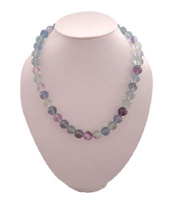 "Multi  Fluorite 12mm Plain Beads 18"" Bold Neckalce"